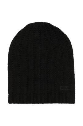 Strukturierte Mütze aus Schurwolle, Schwarz