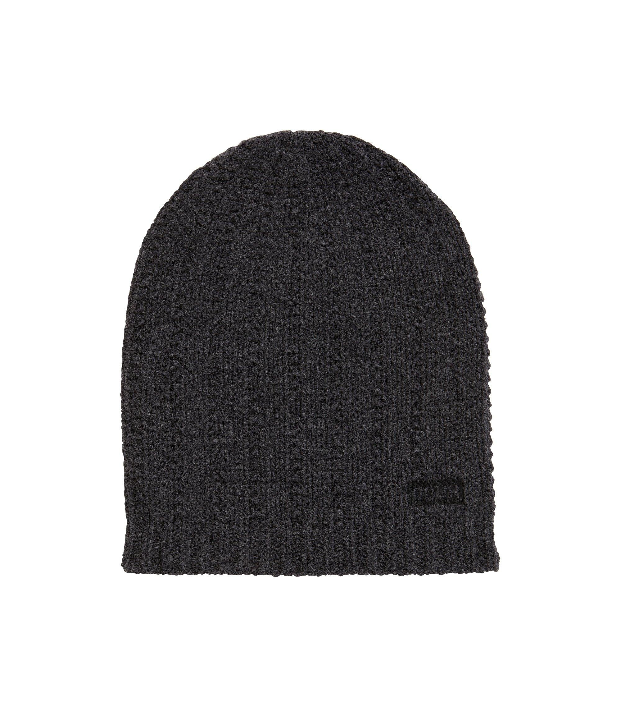 Beanie hat in structured virgin wool, Anthracite