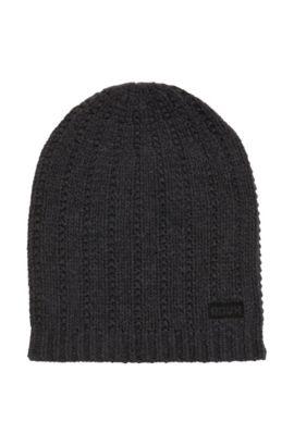 Strukturierte Mütze aus Schurwolle, Anthrazit