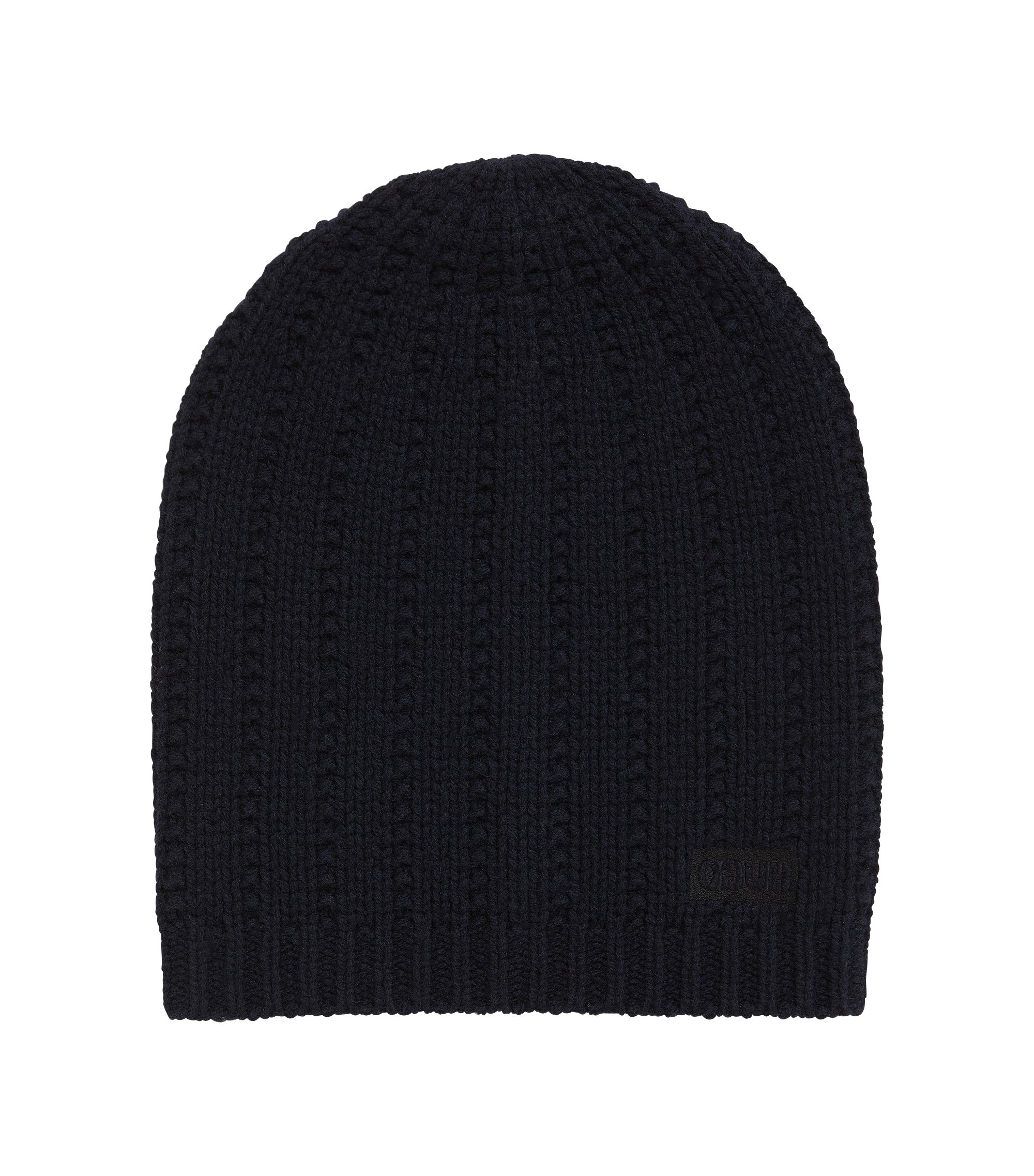 Beanie hat in structured virgin wool, Dark Blue