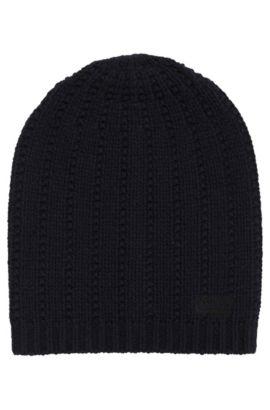 Strukturierte Mütze aus Schurwolle, Dunkelblau