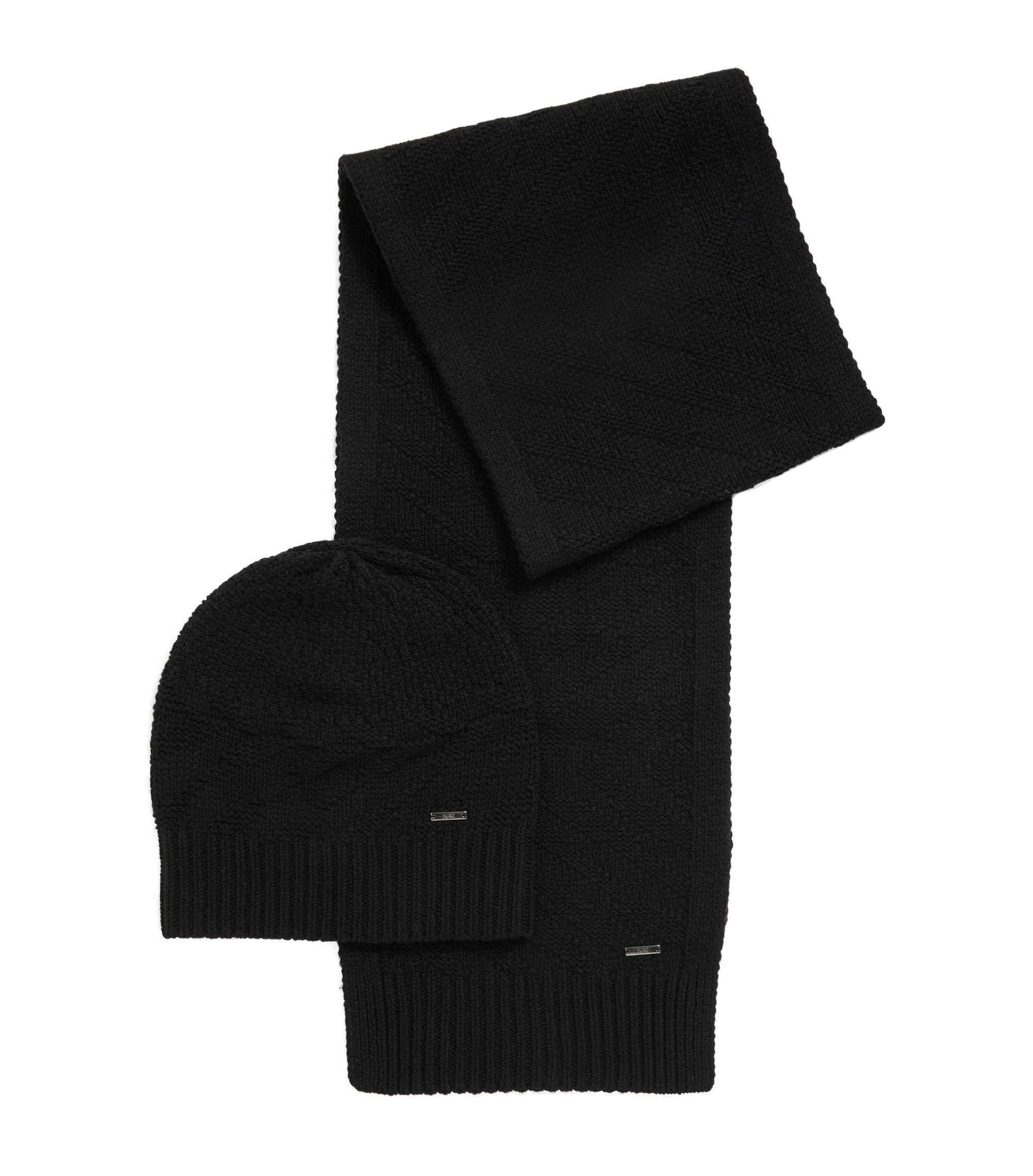 Knitted scarf and beanie set in virgin wool jacquard, Black