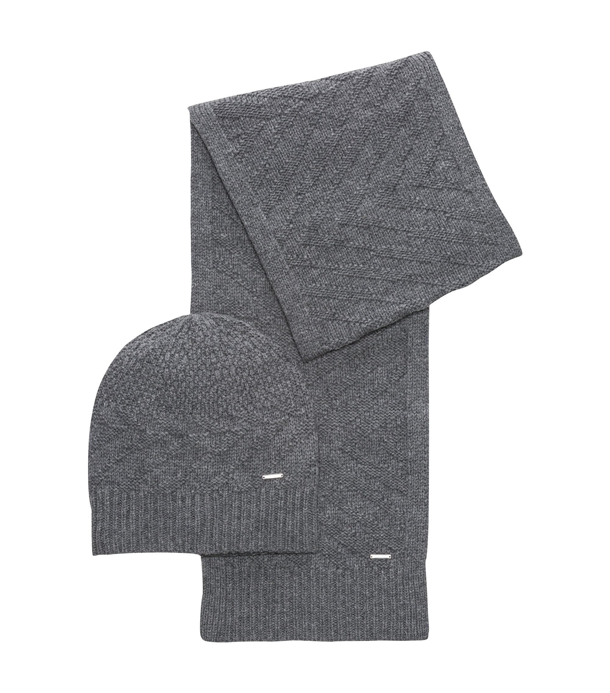 Knitted scarf and beanie set in virgin wool jacquard, Grey