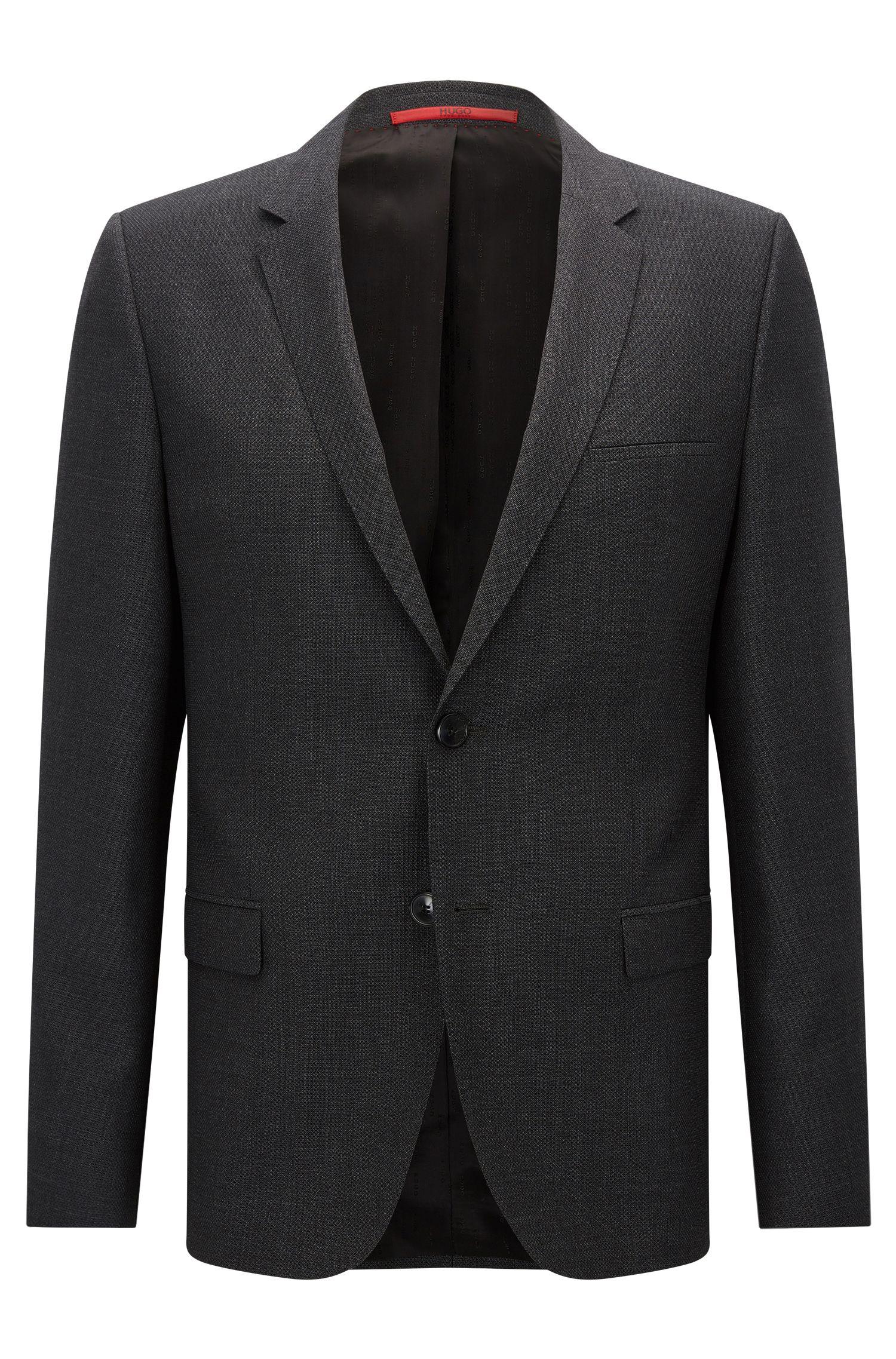 Giacca extra slim fit in lana vergine con microdisegni