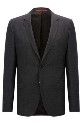 Extra-slim-fit jacket in micro-pattern virgin wool, Anthracite
