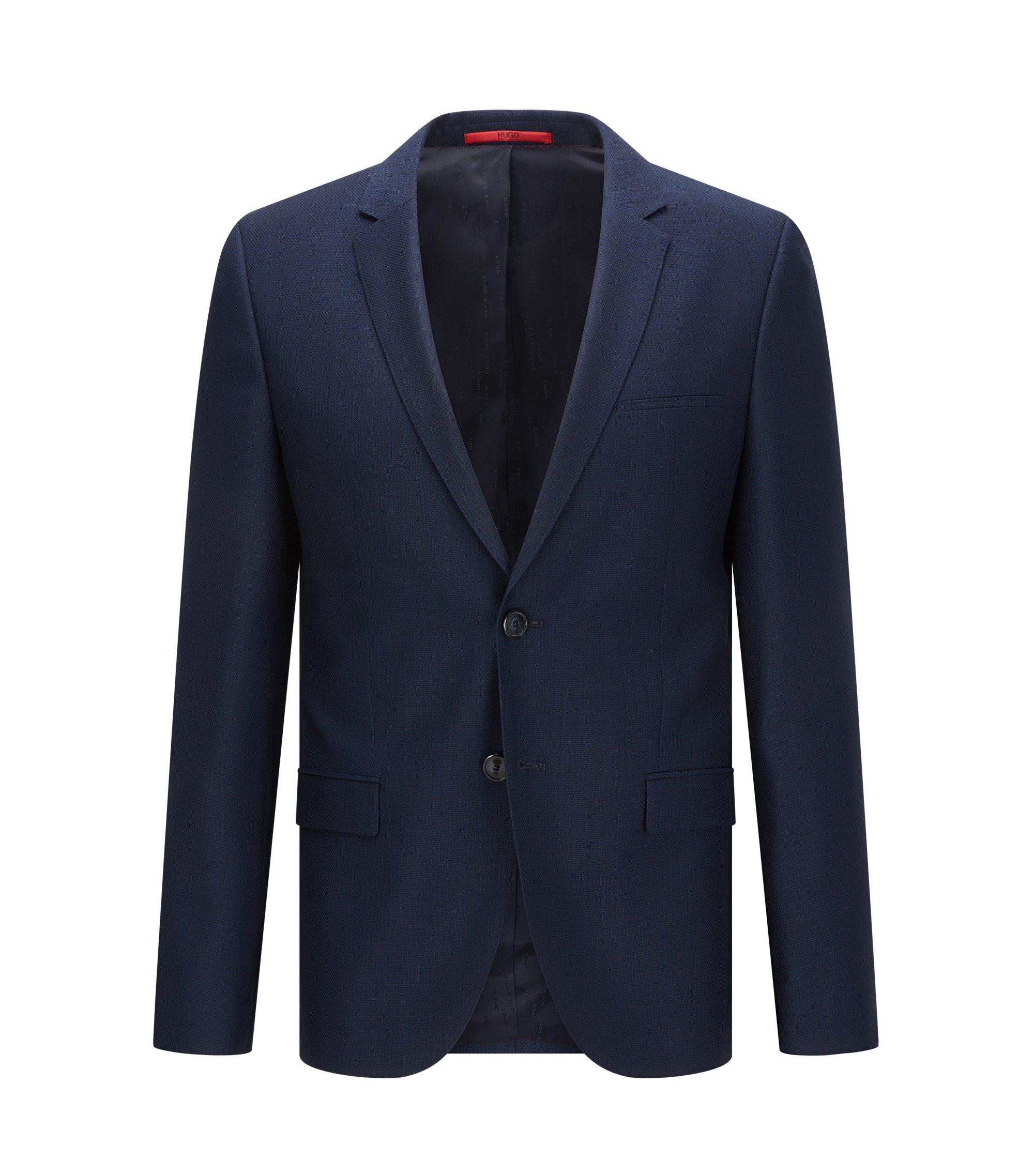 Americana extra slim fit en lana virgen con microestampado, Azul oscuro