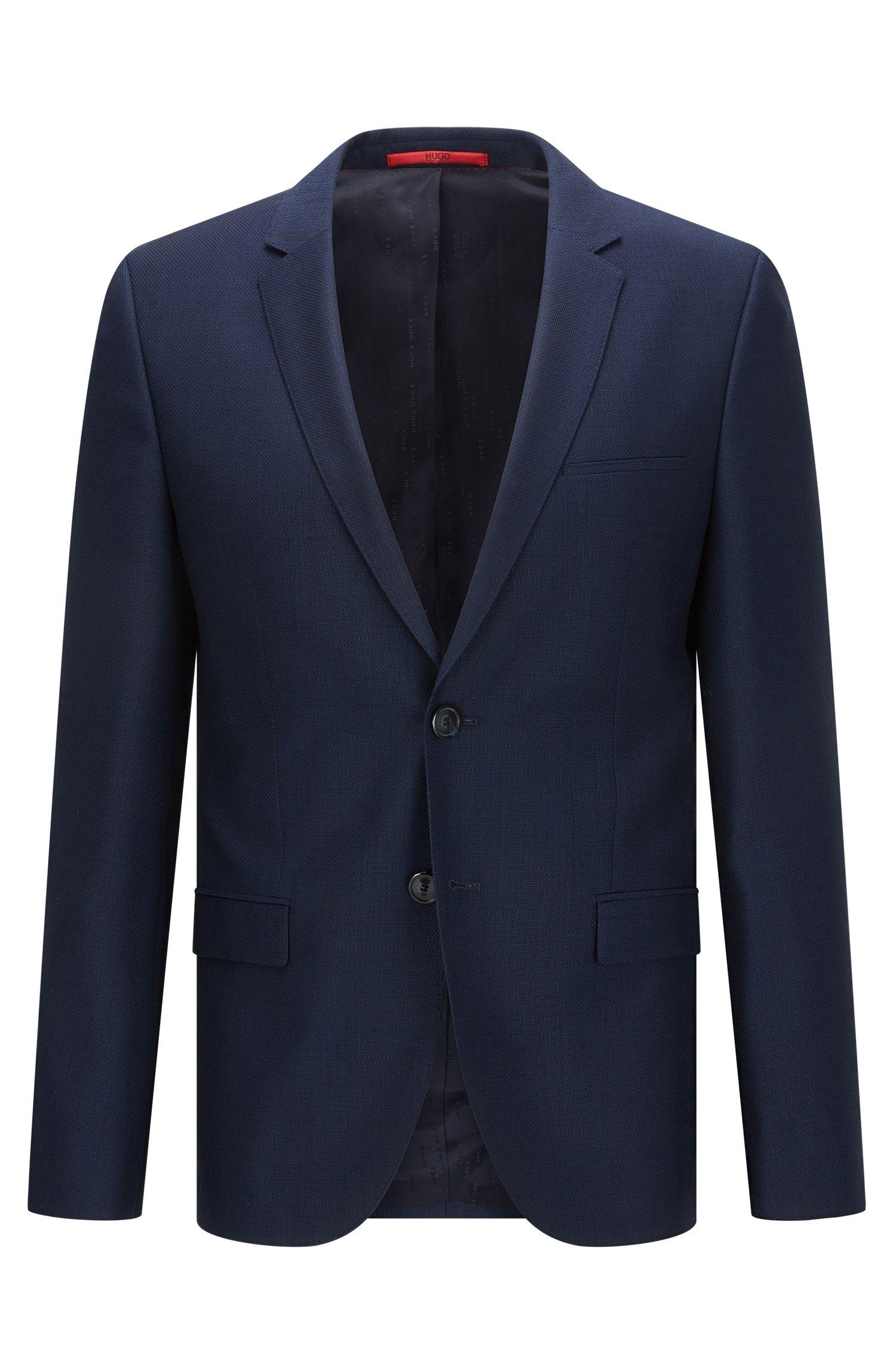 Extra-slim-fit jacket in micro-pattern virgin wool