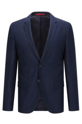 Veste Extra Slim Fit en laine vierge à micro motif, Bleu foncé
