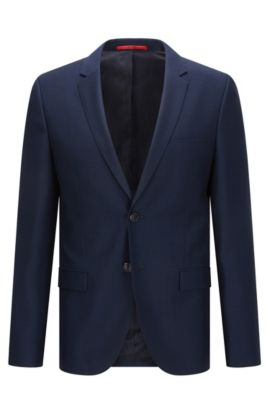 Extra-slim-fit jacket in micro-pattern virgin wool, Dark Blue