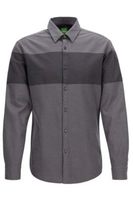 Slim-Fit Hemd aus Flanell mit Colour Block Design, Grau