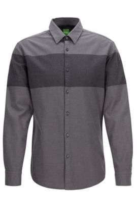Slim-Fit Hemd aus Flanell mit Colour Block Design, Grau