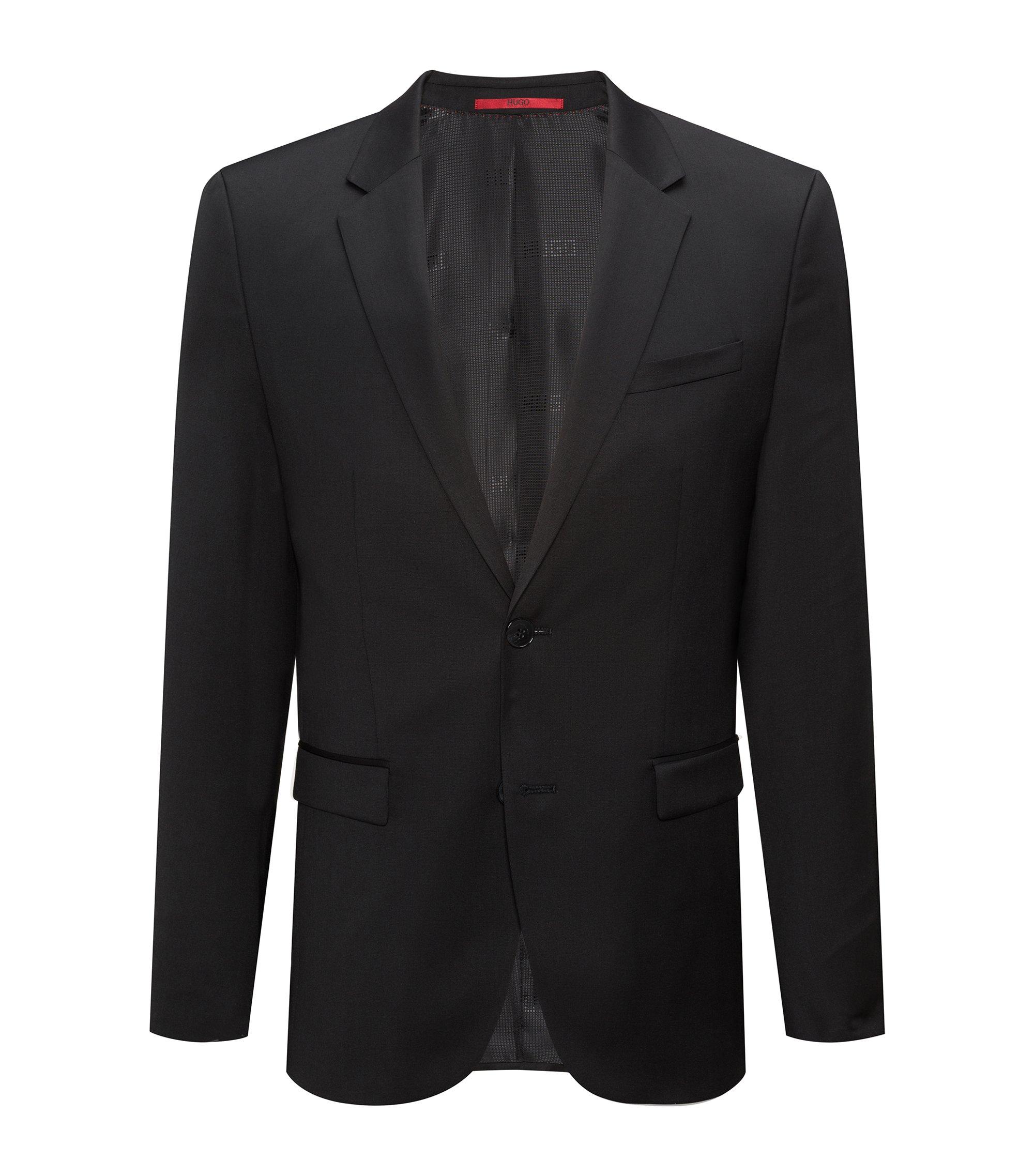 Giacca extra slim fit in lana vergine tinta in filo, Nero