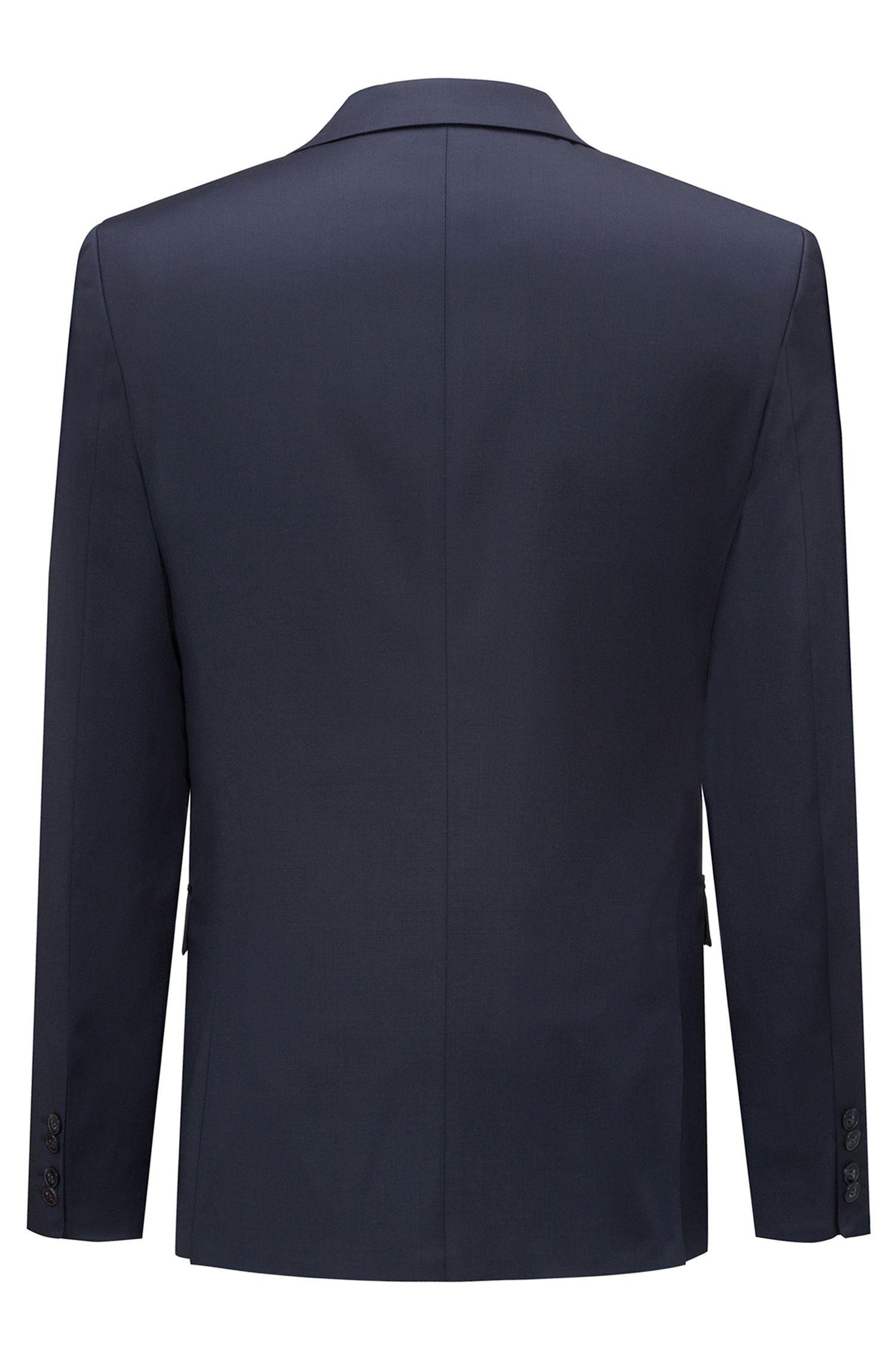Giacca extra slim fit in lana vergine tinta in filo, Blu scuro
