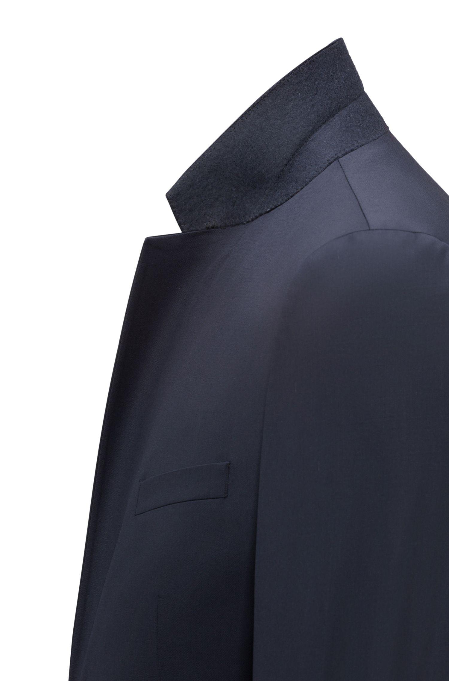 Extra Slim-Fit Sakko aus garngefärbter Schurwolle, Dunkelblau