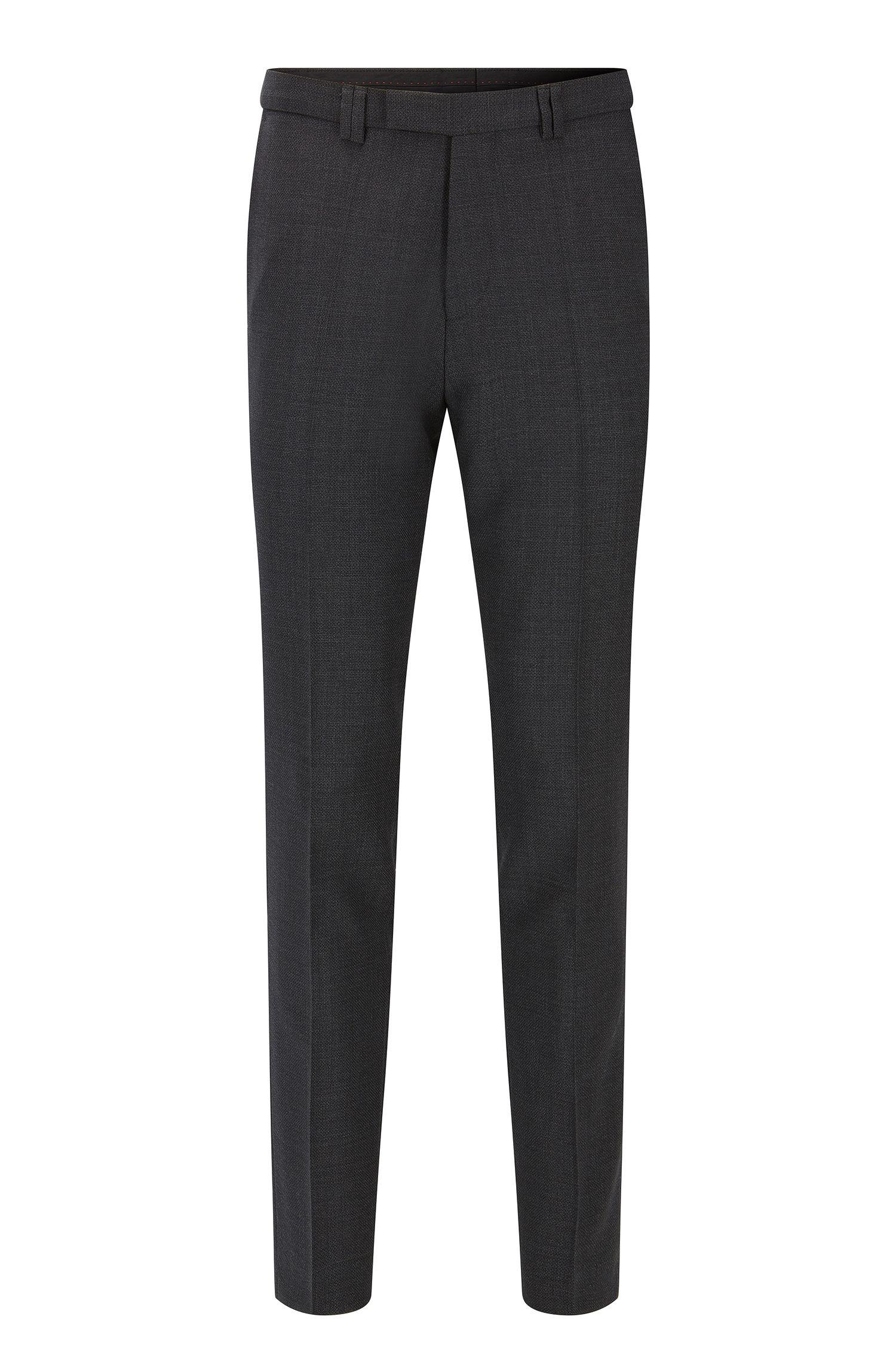 Pantaloni extra slim fit in lana vergine con microdisegni