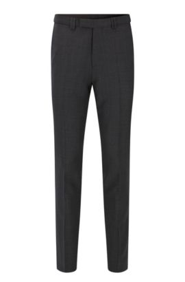 Extra-slim-fit trousers in micro-pattern virgin wool, Anthracite