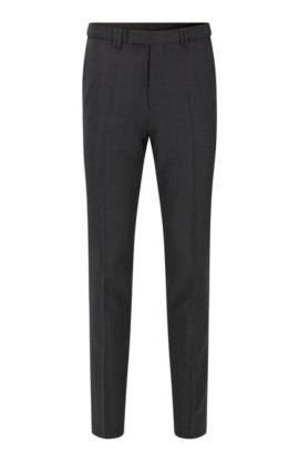 Extra slim-fit broek van scheerwol met microdessin, Antraciet