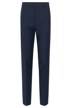Extra-slim-fit trousers in micro-pattern virgin wool, Dark Blue