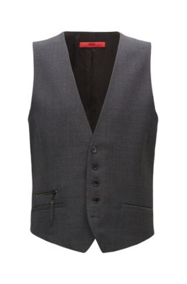 Extra-slim-fit micro-pattern virgin wool waistcoat, Anthracite