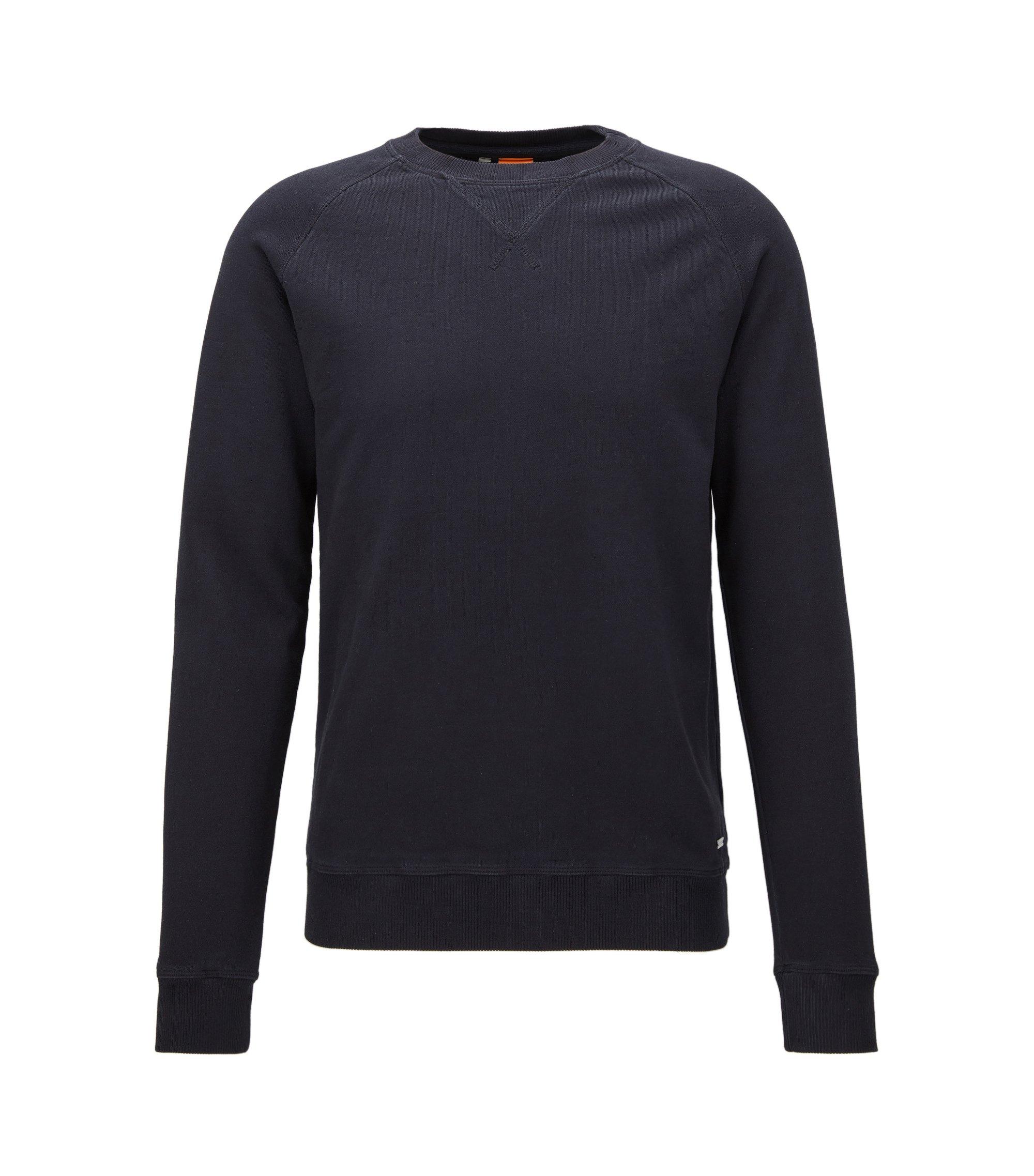 Jersey teñido en prenda con algodón de peso medio, Azul oscuro