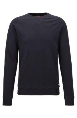 Stückgefärbter Pullover aus mittelschwerer Baumwolle, Dunkelblau