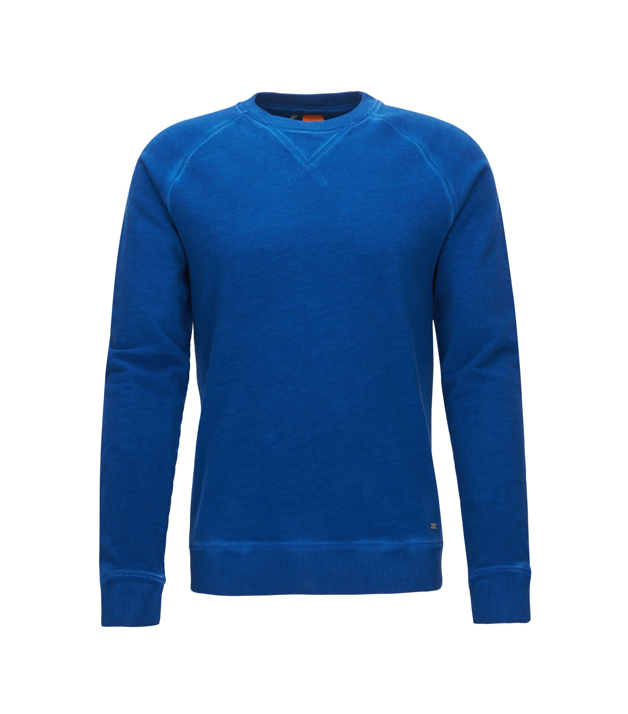 Garment-dyed sweater in midweight cotton, Blue