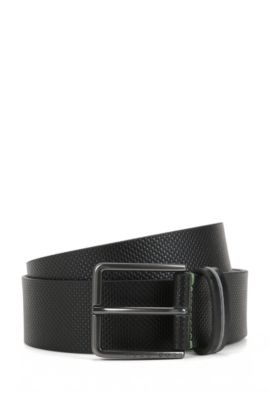 Pin-buckle belt in textured leather, Black