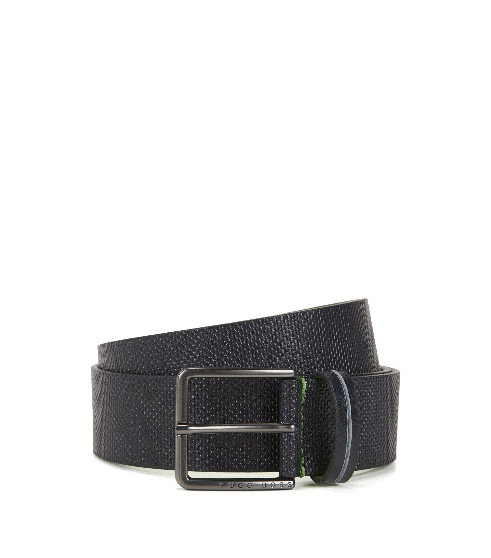 Cintura con fibbia ad ardiglione in pelle lavorata, Blu scuro