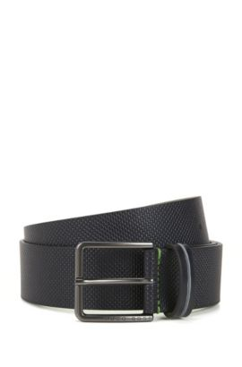 Pin-buckle belt in textured leather, Dark Blue
