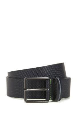 Pin-buckle belt in textured leather, Dark Blue