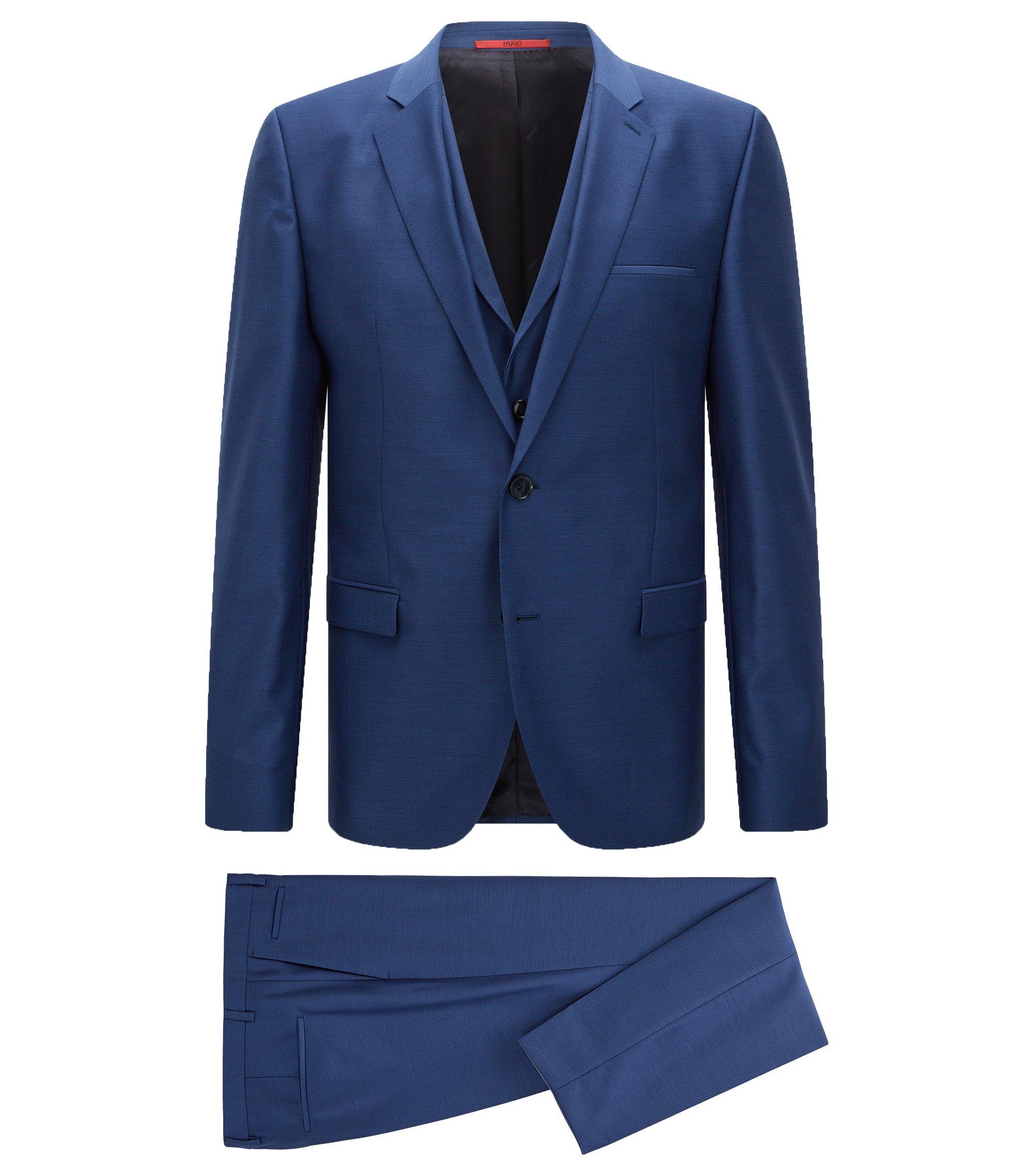 Abito extra slim fit con gilet in lana vergine, Blu