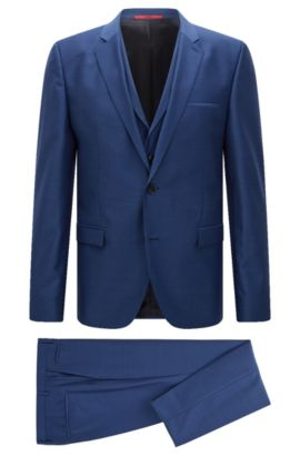 Driedelig extra slim-fit kostuum van scheerwol, Blauw