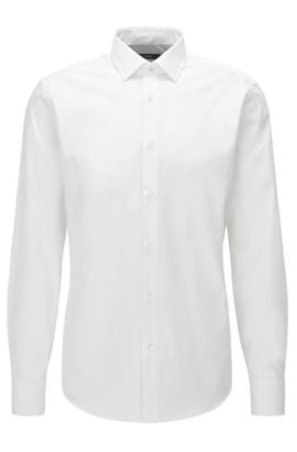 Camicia regular fit in cotone facile da stirare, Bianco
