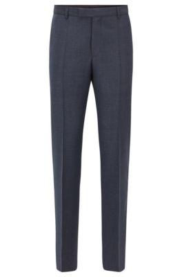 Regular-fit trousers in virgin wool, Dark Blue