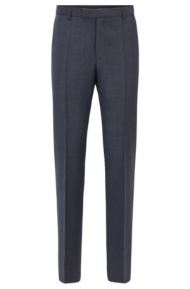 Regular-fit trousers in virgin wool, Dark Blue