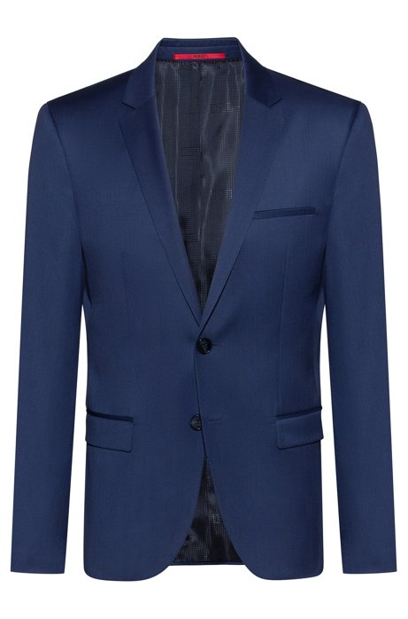 Extra-slim-fit jacket in pigment-dyed wool, Blue