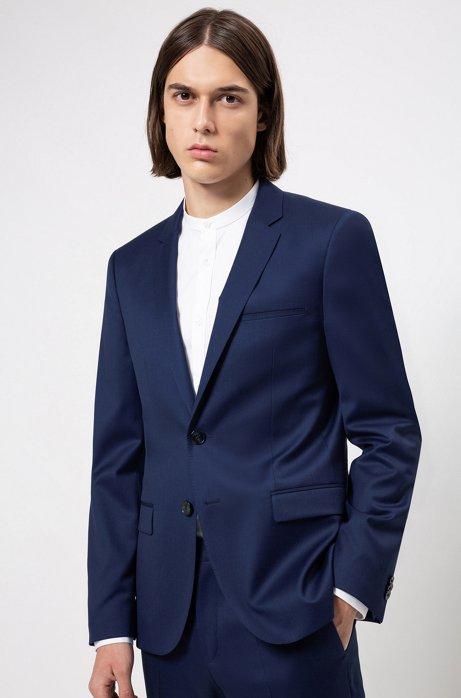 Veste Extra Slim Fit en laine à la teinture pigmentaire, Bleu