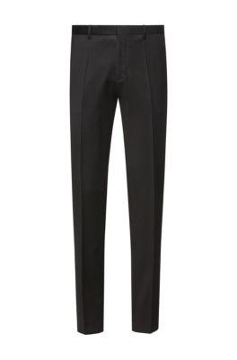 Pantalon Extra Slim Fit en laine vierge teinte avec des pigments, Noir