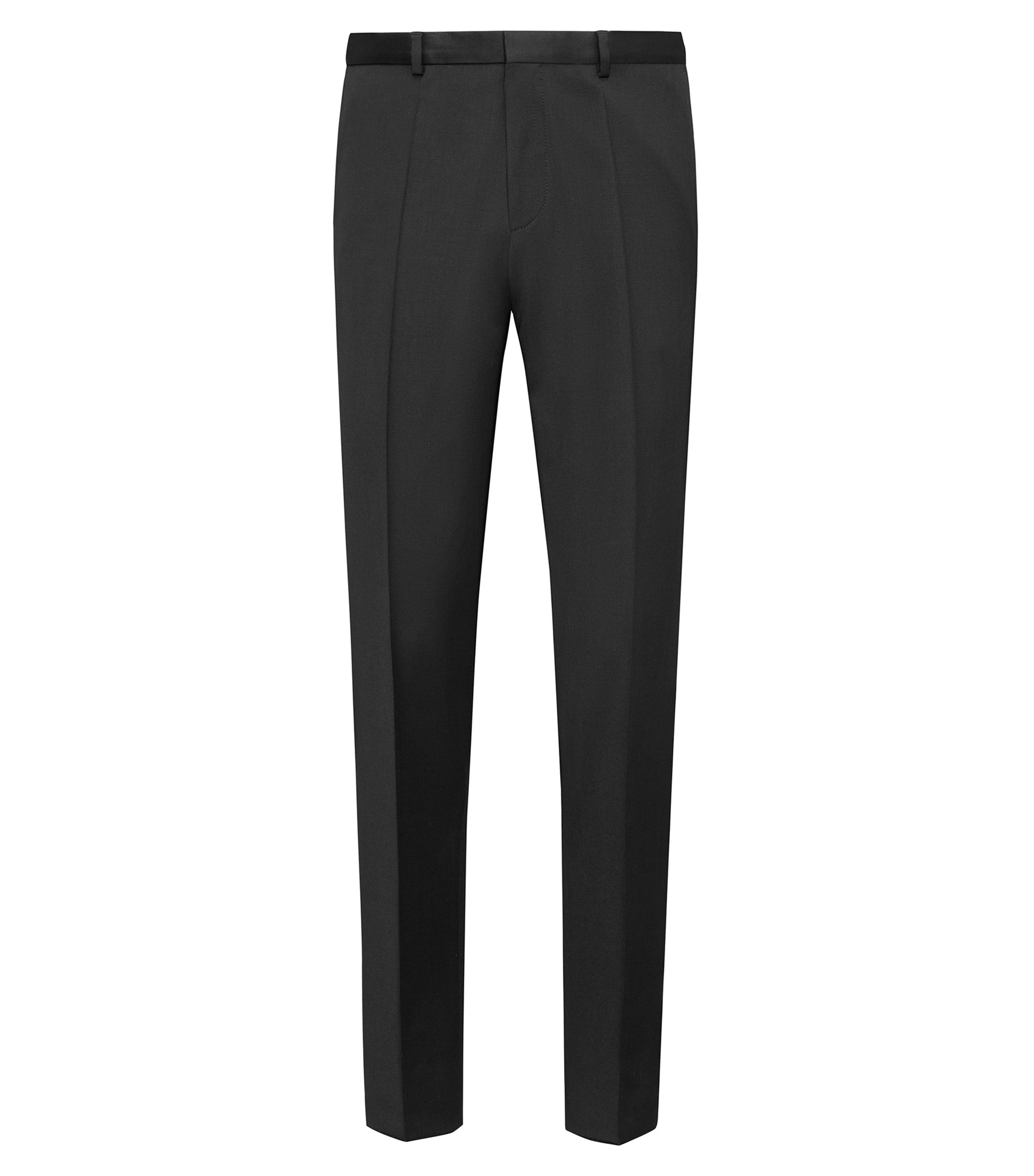 Extra-slim-fit trousers in pigment-dyed virgin wool, Black