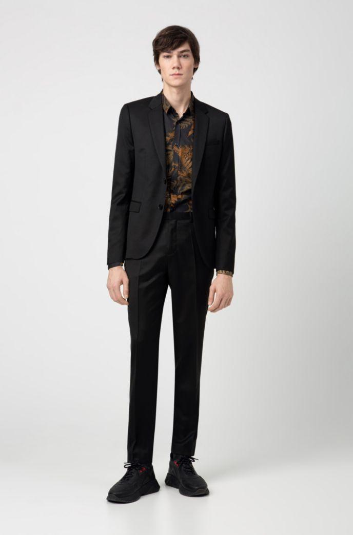 Extra slim-fit pantalon van pigment-dyed scheerwol