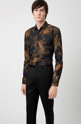 Extra slim-fit pantalon van pigment-dyed scheerwol, Zwart