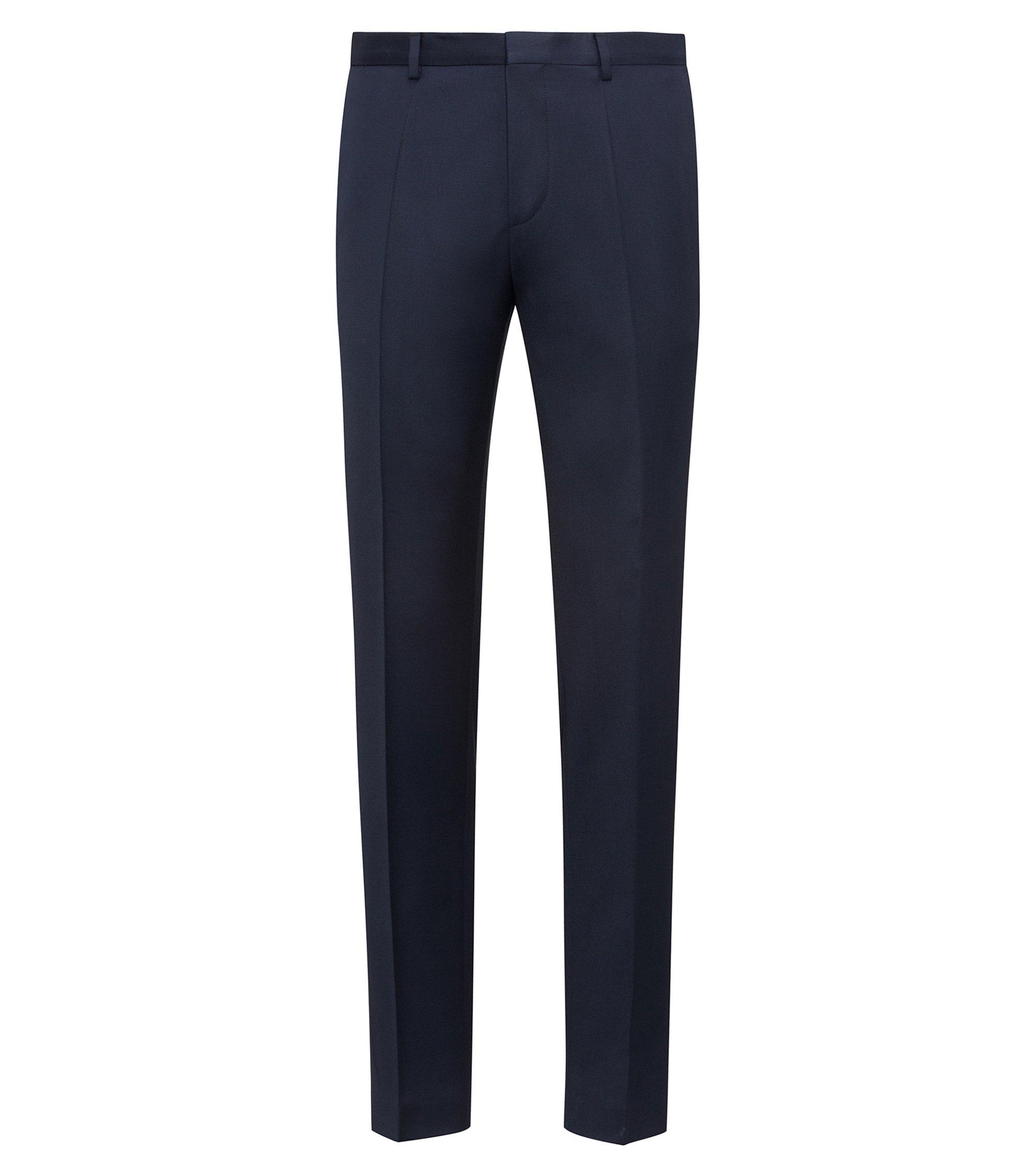 Pantalon Extra Slim Fit en laine vierge teinte avec des pigments, Bleu foncé