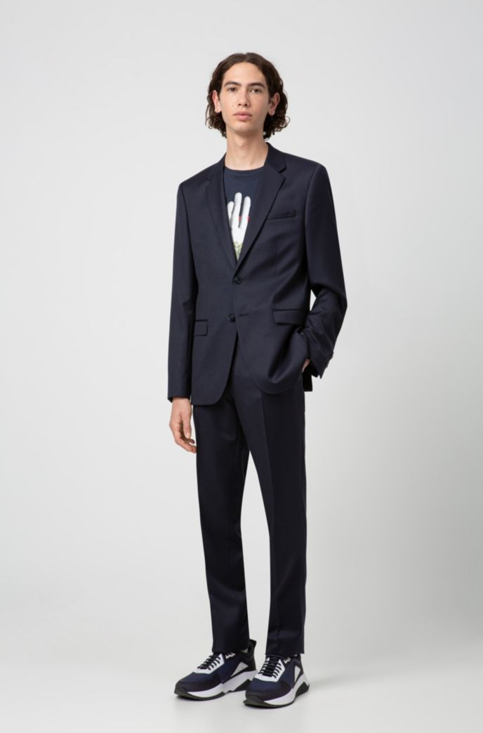 Pantalon Extra Slim Fit en laine vierge teinte avec des pigments
