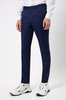Extra-slim-fit trousers in pigment-dyed wool, Blue