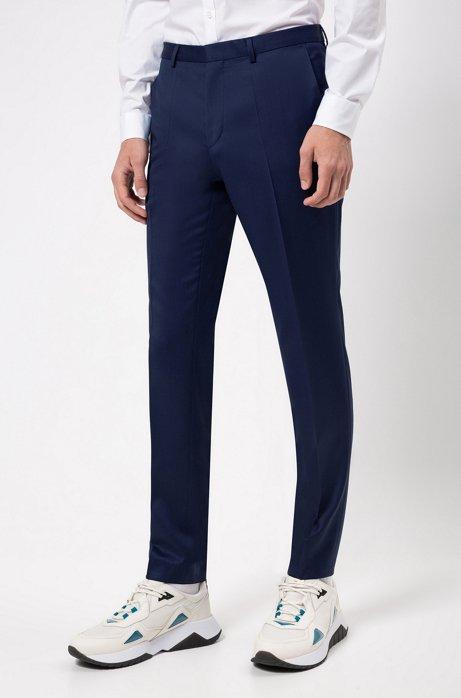 Pantalon Extra Slim Fit en laine à la teinture pigmentaire, Bleu