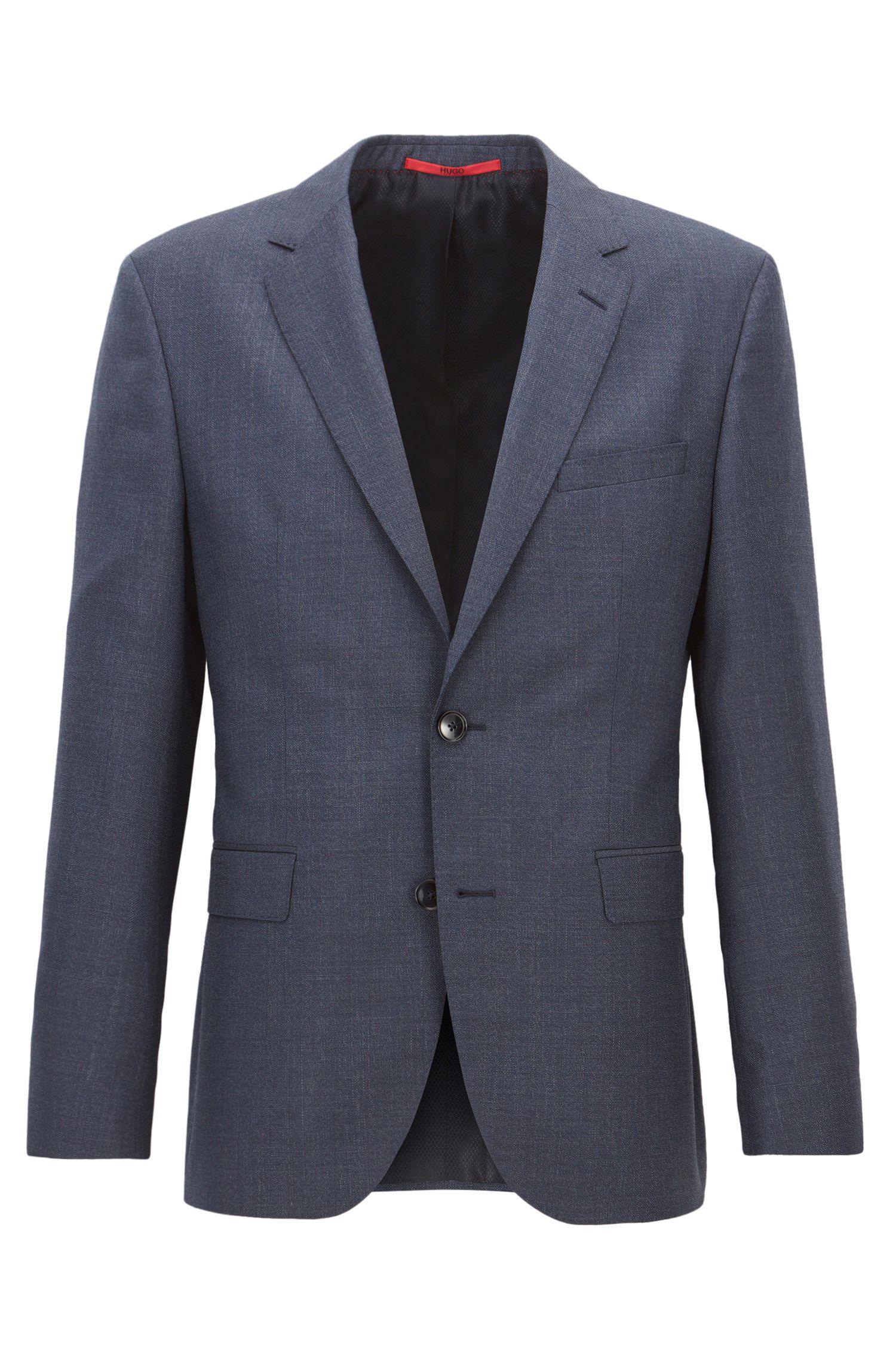 Giacca regular fit in lana vergine tinta in filo