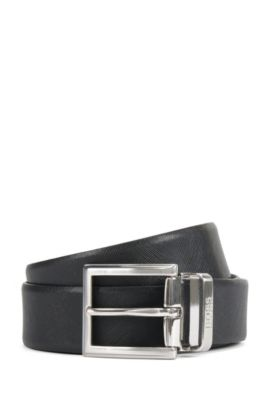 Reversible belt in textured leather, Black