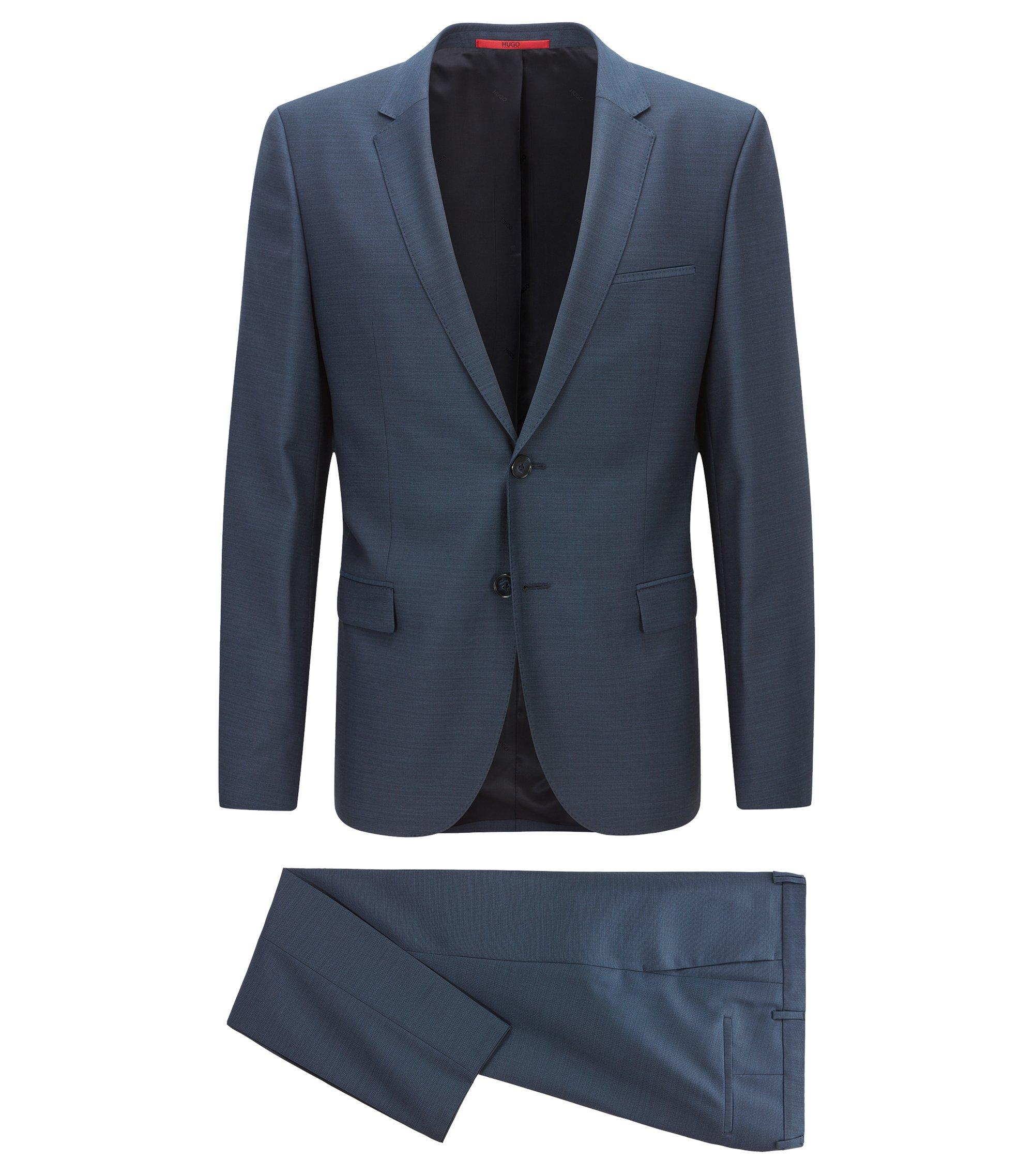 Traje extra slim fit en microsarga de lana virgen, Azul oscuro