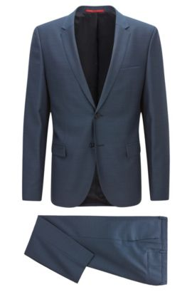 Extra-slim-fit suit in micro-twill virgin wool, Dark Blue