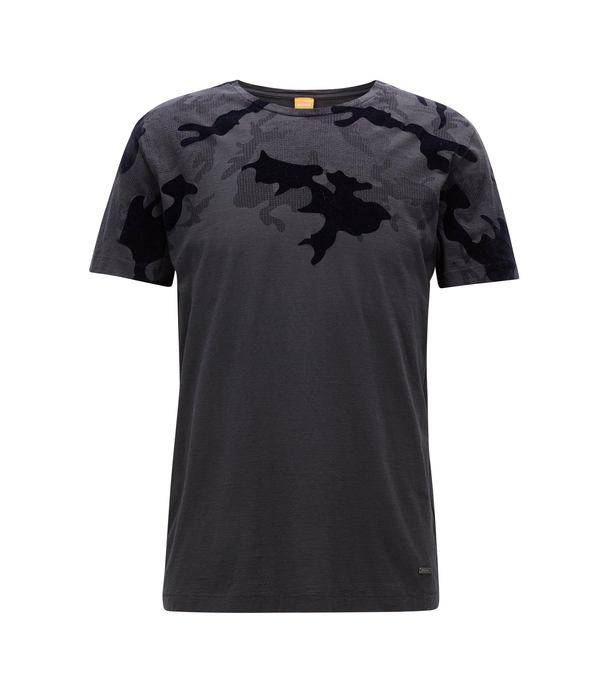 Bedrucktes Regular Fit T-Shirt aus strukturiertem Baumwoll-Jersey, Schwarz